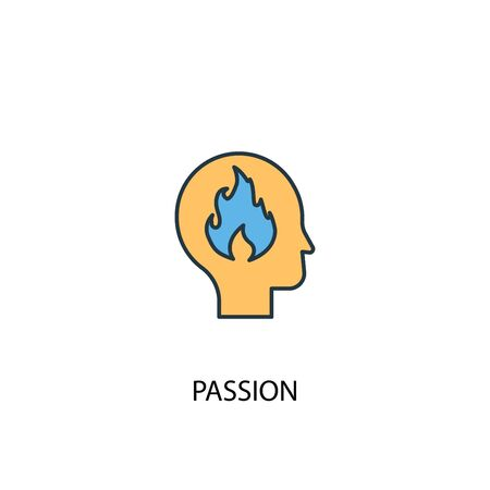 passion concept 2 colored icon. Simple blue element illustration. passion concept symbol design. Can be used for web and mobile Foto de archivo - 130457018