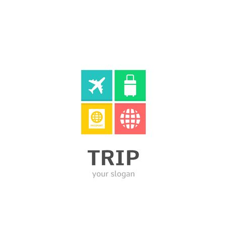 Trip icons flat style logo Design with airplane, baggage, passport, globe icons. Trendy, creative, corporative logotype template.