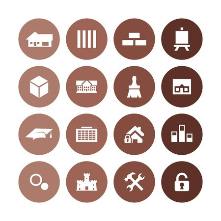 architecture icons universal set for web and UI