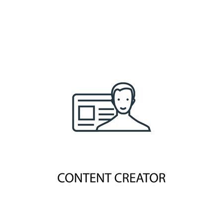 content creator concept line icon. Simple element illustration. content creator concept outline symbol design. Can be used for web and mobile Ilustração