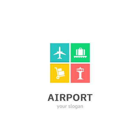 Airport icons flat style logo Design with airplane, baggage claim, trolley, watchtower icons. Trendy, creative, corporative logotype template.