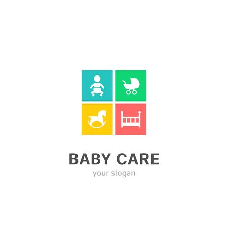 baby care icons flat style logo Design with baby, buggy, horse toy, crib icons. Trendy, creative, corporative logotype template. Archivio Fotografico - 130457528