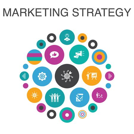 marketing strategy Infographic circle concept. Smart UI elements planning, marketing manager, planning