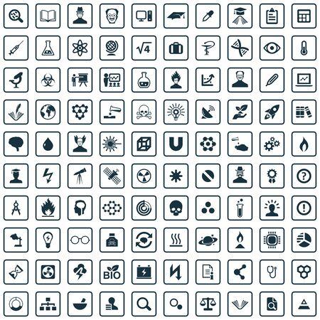 Wissenschaft 100 Icons Universalset für Web und UI