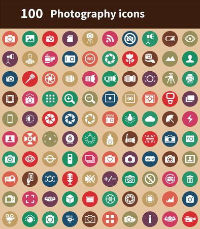 photography 100 icons universal set for web and UI Illusztráció