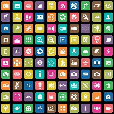 fotografia 100 ikon uniwersalny zestaw dla sieci i interfejsu użytkownika Ilustracje wektorowe