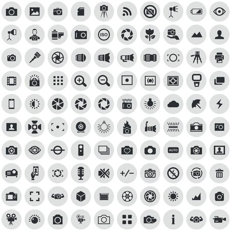 photography 100 icons universal set for web and UI Stock Vector - 130457635