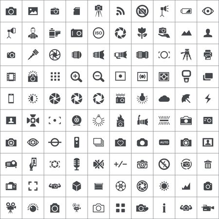 photography 100 icons universal set for web and UI 일러스트