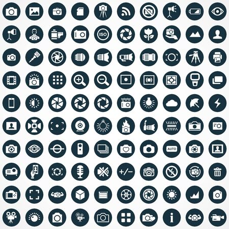photography 100 icons universal set for web and UI 向量圖像