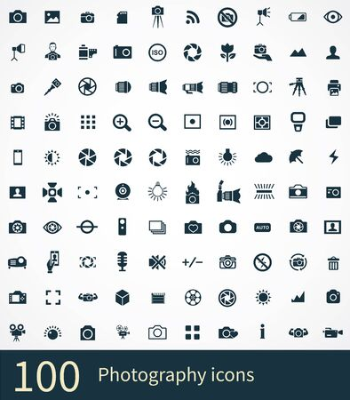photography 100 icons universal set for web and UI Vettoriali