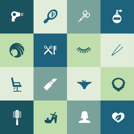 beauty salon icons universal set for web and UI