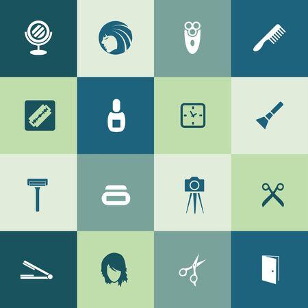 barbershop icons universal set for web and UI 版權商用圖片 - 130458308