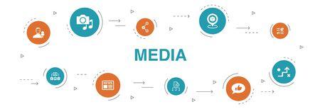 media Infografika 10 kroków koło projekt. wiadomości, reporter, infografiki, ikony media planu Ilustracje wektorowe