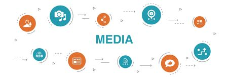 media Infographic 10 steps circle design. news, reporter, Infographics, media plan icons