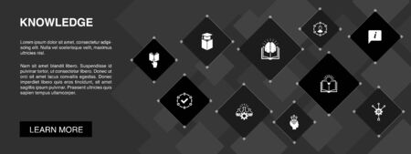 knowledge banner 10 icons concept.subject, education, information, experience icons