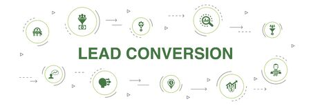 lead conversion Infographic 10 steps circle design. sales, analysis, prospect, customer icons