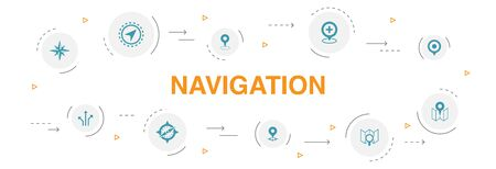 Navigation Infographic 10 steps circle design. location, map, gps, direction icons