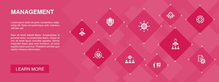 Management banner 10 icons concept.manager, control, organization, presentation icons 일러스트