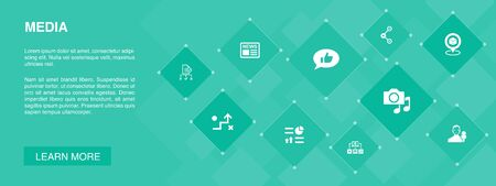 media banner 10 icons concept.news, reporter, Infographics, media plan icons