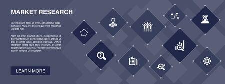 Investigación de mercado banner 10 iconos concept.strategy, investigación, encuesta, iconos de clientes