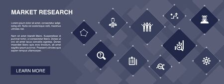 Market research banner 10 icons concept.strategy, investigation, survey, customer icons