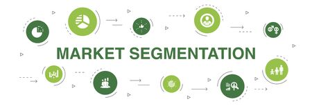 market segmentation Infographic 10 steps circle design. demography, segment, Benchmarking, Age group icons