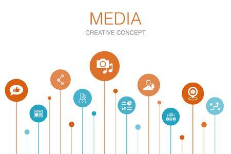 media Infographic 10 steps template. news, reporter, Infographics, media plan icons Ilustração