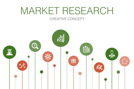 Market research Infographic 10 steps template. strategy, investigation, survey, customer icons