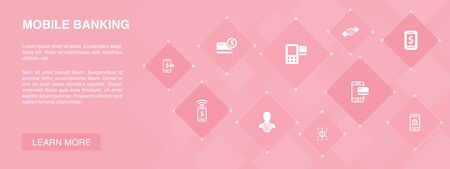 Mobile banking banner 10 icons concept.account, banking app, money transfer, Mobile payment icons Ilustração