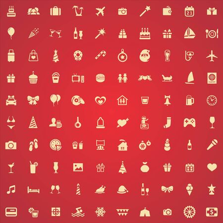 holiday 100 icons universal set for web and UI. Banque d'images - 130458707
