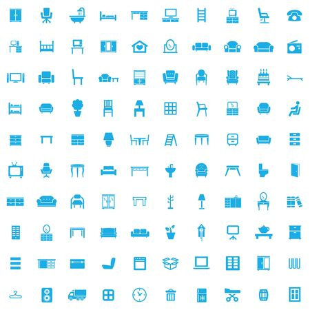 furniture 100 icons universal set for web and UI
