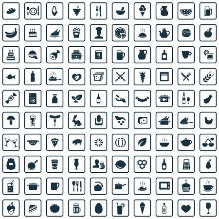 food 100 icons universal set for web and UI Standard-Bild - 130458733