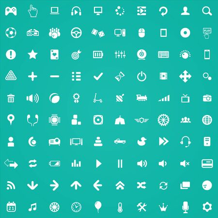 game 100 icons universal set for web and UI.