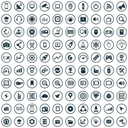 hi-tech 100 icons universal set for web and UI