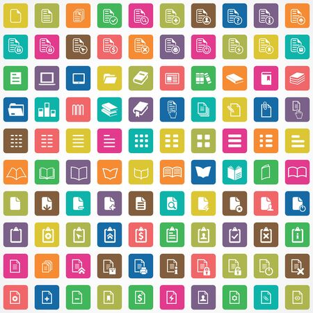 document 100 icons universal set for web and UI