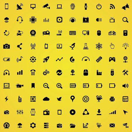 hi-tech 100 icons universal set for web and UI