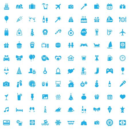 holiday 100 icons universal set for web and UI. Banque d'images - 130458806