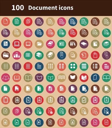 Documentar 100 iconos universales para web y UI. Ilustración de vector