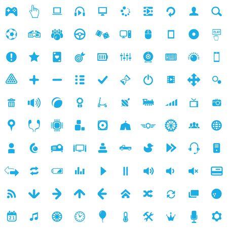game 100 icons universal set for web and UI.