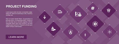bannière de financement de projet 10 icônes concept.crowdfunding, subvention, collecte de fonds, icônes de contribution