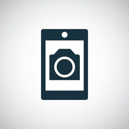 smartphone photo camera icon for web and UI on white background