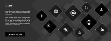 SCM banner 10 icons concept.management, analysis, distribution, procurement simple icons Illustration