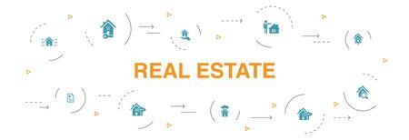 Immobilien Infografik 10 Schritte Vorlage. Immobilien, Makler, Standort, Immobilien zum Verkauf Symbole