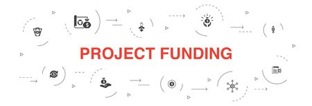 project funding Infographic 10 steps template.crowdfunding, grant, fundraising, contribution icons