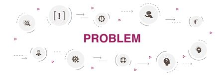 problem Infographic 10 steps template.solution, depression, analyze, resolve icons Stock Illustratie