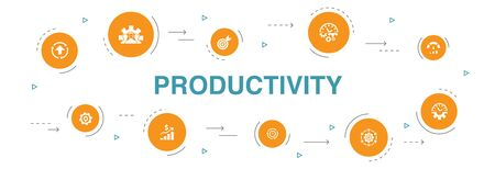 Productivity Infographic 10 steps template.performance, goal, system, process icons