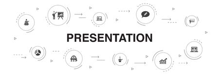 presentation Infographic 10 steps template.lecturer, topic, business presentation, diagram icons