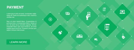 payment banner 10 icons concept.Invoice, money, bill, discount icons