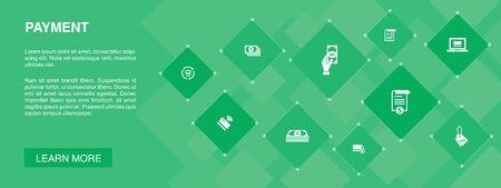 Zahlungsbanner 10 Symbole Konzept. Rechnung, Geld, Rechnung, Rabattsymbole