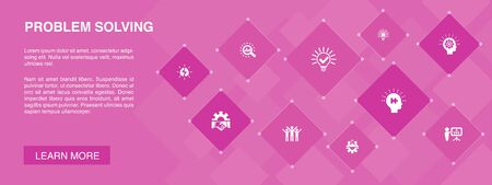 problem solving banner 10 icons concept.analysis, idea, brainstorming, teamwork icons Stock Illustratie